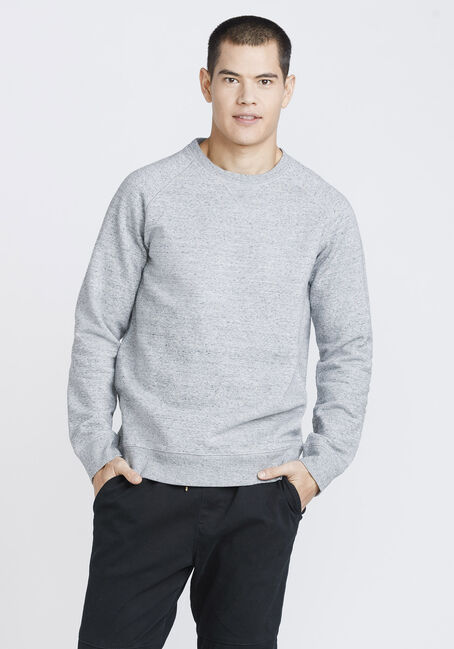 Men's Crew Neck Sweatshirt, HEATHER GREY, hi-res