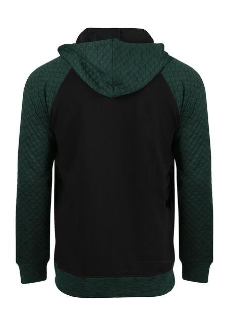 Men's Quilted Raglan Zip Front Hoodie, PINE, hi-res