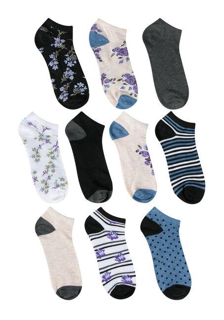 Ladies' 10 Pair Floral Stripe Socks
