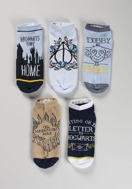 Women's 5 Pack Harry Potter Socks, NAVY, hi-res