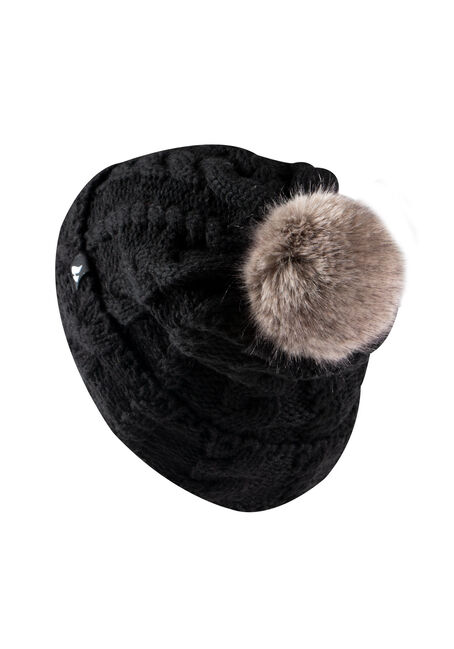 Women's Thermal Pom Pom Hat, BLACK, hi-res