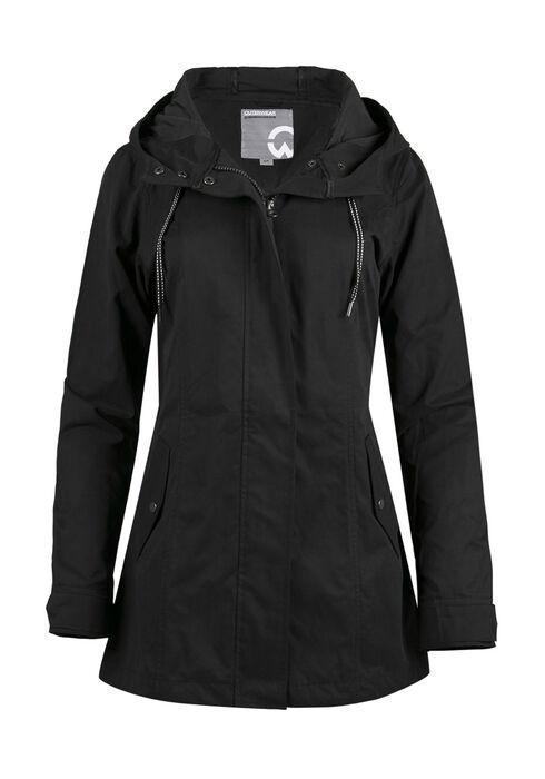 Ladies Hooded Anorak Jacket, BLACK, hi-res