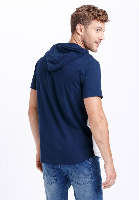 Men's Everyday Colour Block Hooded Tee, NAVY, hi-res