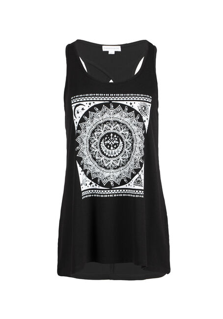 Womens' Scroll Flower Keyhole Tank
