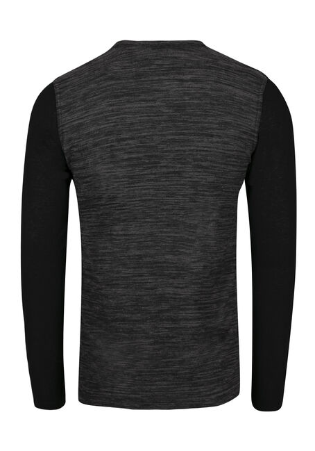Men's Henley Pocket Tee, CHARCOAL, hi-res