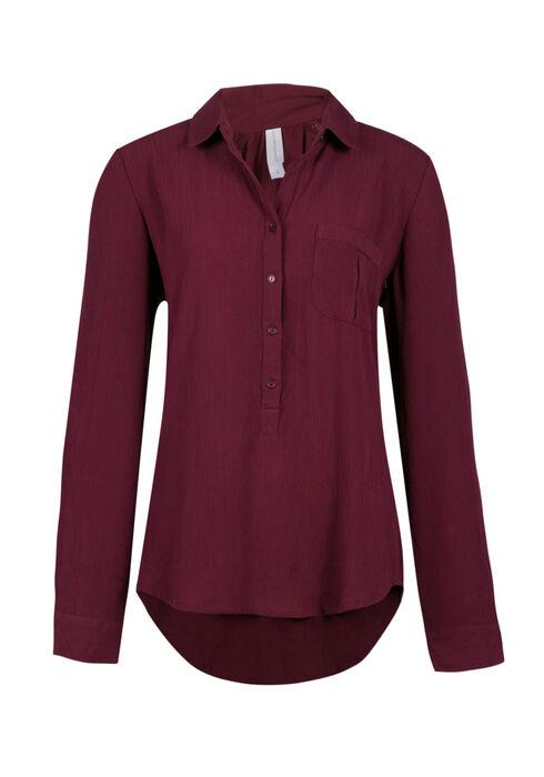 Ladies' Henley Crinkle Shirt, WINE, hi-res