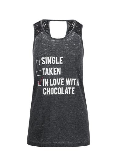 Ladies' In Love With Chocolate Tank, BLACK, hi-res
