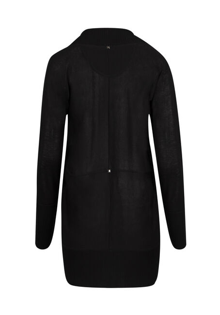 Ladies' Cocoon Cardigan, SOLID BLACK, hi-res