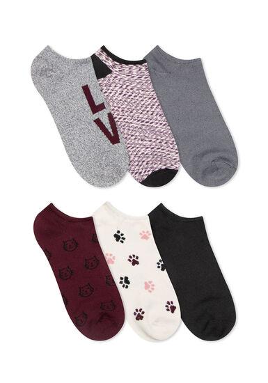 Women's 6 Pair Cat Socks, BURGUNDY, hi-res