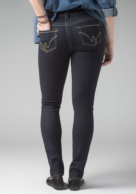 Ladies' Skinny Ink Wash Jeans, DARK WASH, hi-res
