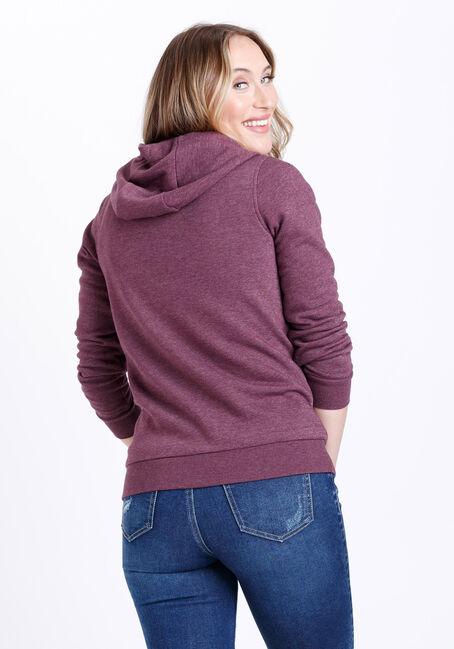 Women's Zip Front Hoodie, SANGRIA, hi-res