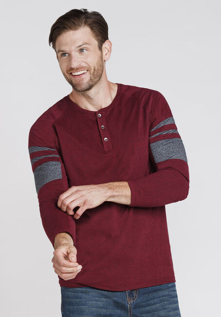 Men's Henley Tee, CHILI, hi-res