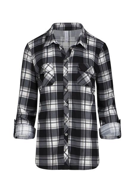 Women's 2-Pocket Knit Plaid Shirt