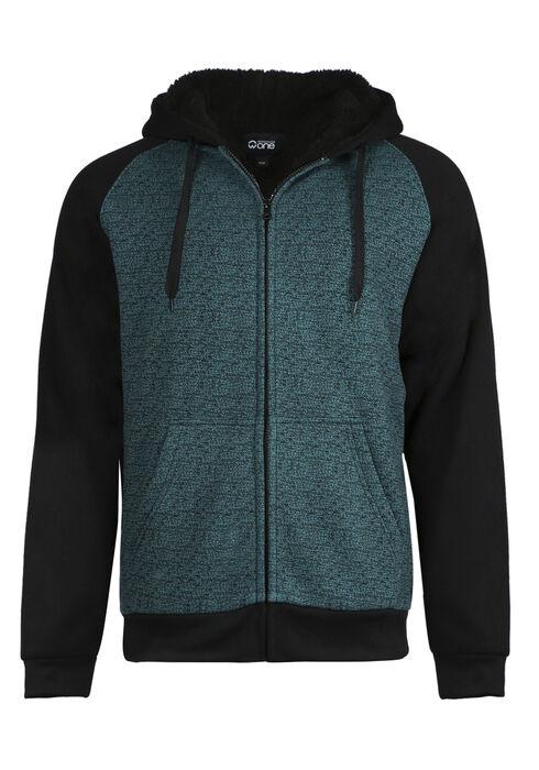 Men's Fur Lined Zip Front Hoodie, LAGOON, hi-res