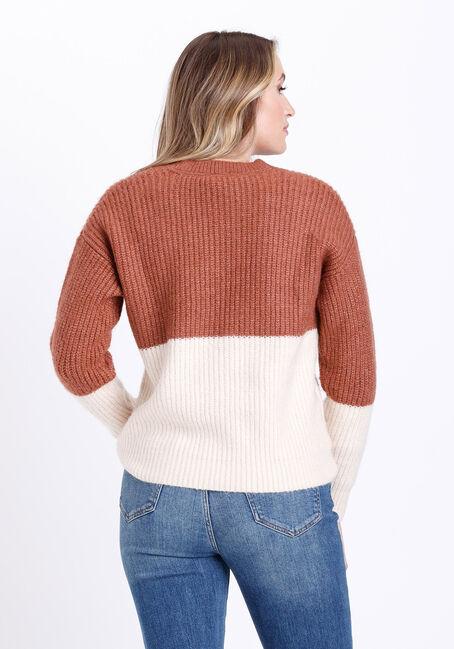 Women's Colour Block Sweater, PINK, hi-res