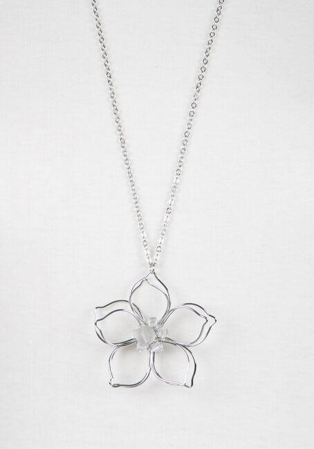 Ladies' Daisy Pendant Necklace, RHODIUM, hi-res