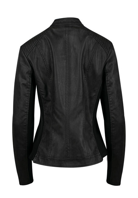 Women's Moto Jacket, BLACK, hi-res
