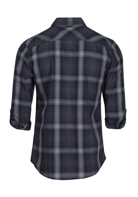 Men's Plaid Shirt, NAVY, hi-res