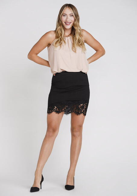 Women's Lace Hem Skirt, BLACK, hi-res