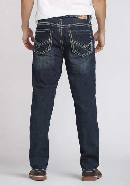 Men's Dark Wash Relaxed Straight Jeans, DARK WASH, hi-res