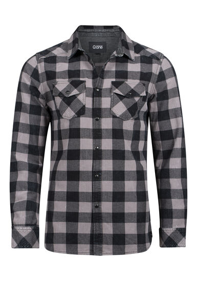 Men's Vintage Buffalo Plaid Shirt, BLACK, hi-res