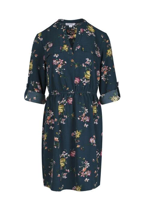 Women's Floral Shirt Dress, TEAL PRINT, hi-res