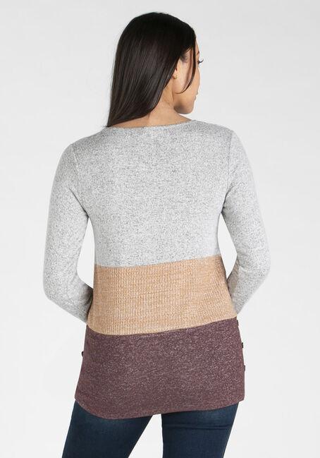 Women's Colour Block Top, WINE/MUSTARD, hi-res