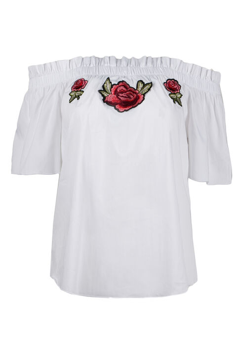 Ladies' Embroidered Bardot Top, WHITE, hi-res