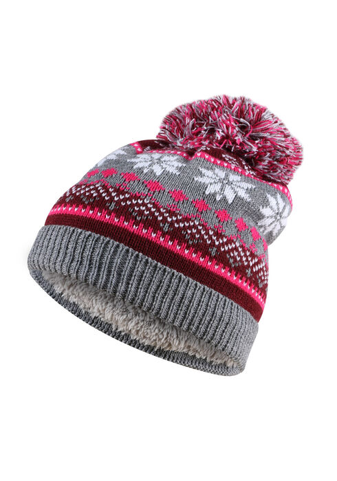 Ladies' Nordic Pom Pom Hat, BURGUNDY, hi-res
