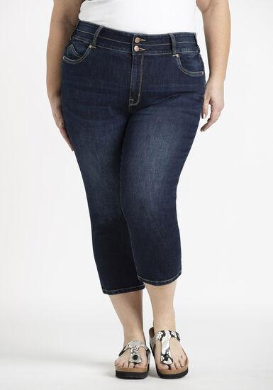 Women's Plus 2 Button High Rise Skinny Capri, DARK WASH, hi-res