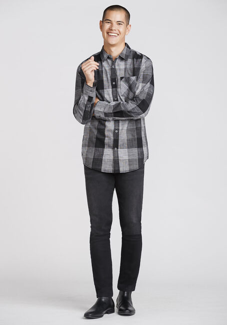 Men's Tonal Buffalo Plaid Shirt, BLACK, hi-res