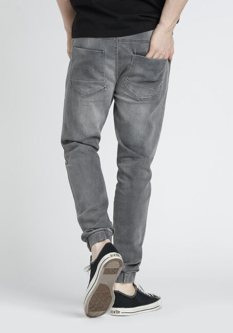 Men's Stretch Denim Joggers, GREY, hi-res