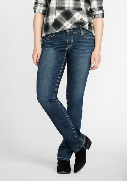 Ladies' Straight Leg Dark Wash Jeans, MEDIUM WASH, hi-res