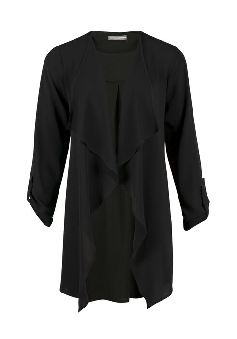 Ladies' Drape Front Open Blazer, BLACK, hi-res