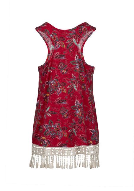 Women's Floral Crochet Trim Tank, RED SEA, hi-res