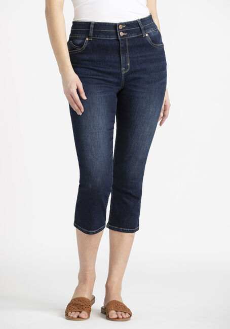 Women's 2 Button High Rise Skinny Capri