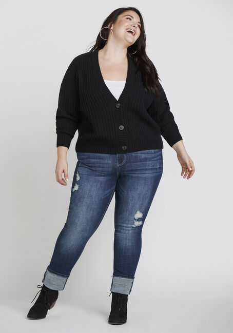 Women's Button Front Cropped Cardigan, BLACK, hi-res