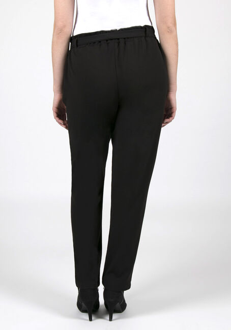 Ladies' Paper Bag Waist Pants, BLACK, hi-res