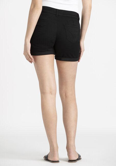 Women's 2 Button Black Cuffed Midi Short, BLACK, hi-res