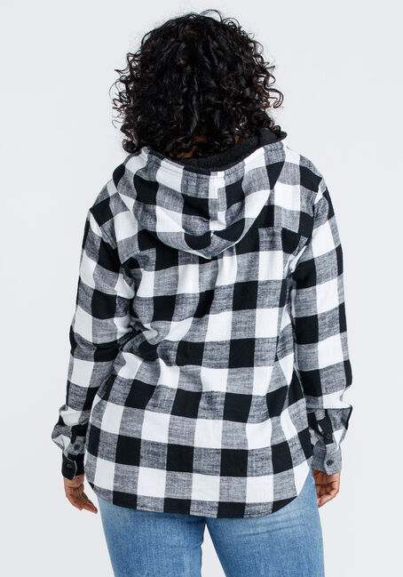 Women's Flannel Plaid Hooded Shirt, BLK/WHT, hi-res