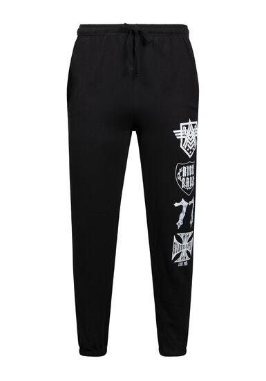 Men's Graphic Fleece Pant, BLACK, hi-res