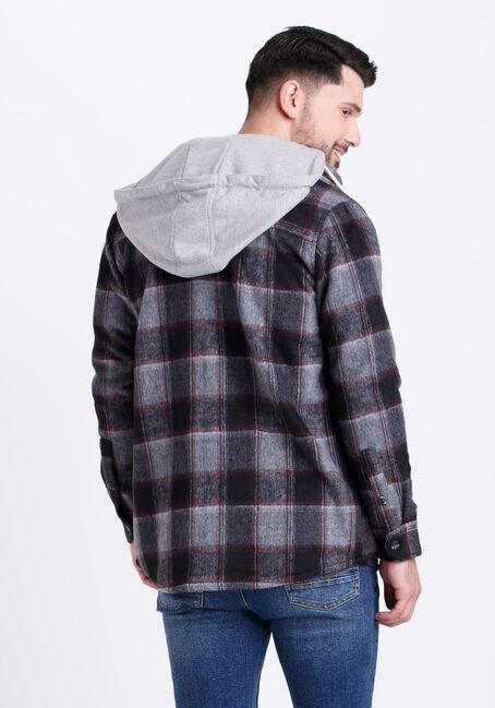Men's Hooded Plaid Flannel Work Jacket, CHARCOAL, hi-res