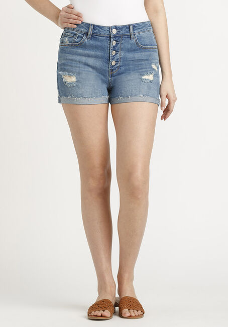 Women's High Rise Exposed Button Fly Destroyed Cuffed Short