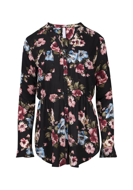 Women's Floral Empire Waist Tunic Top