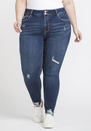 Women's Plus Size Distressed Ankle Skinny Jeans, DENIM, hi-res