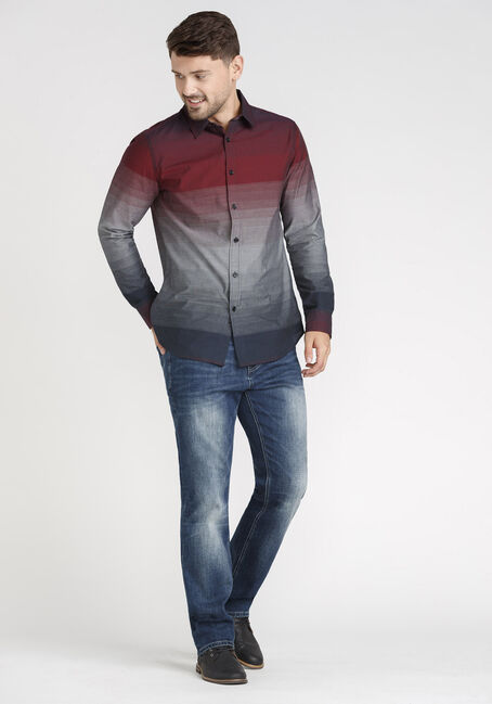 Men's Ombre Striped Shirt, Holly Berry, hi-res