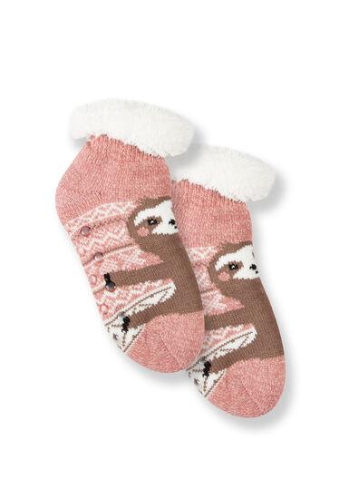 Women's Sloth Slipper Socks, PINK, hi-res
