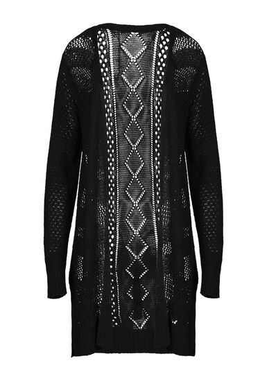 Women's Mid-Length Pointelle Cardigan, BLACK, hi-res