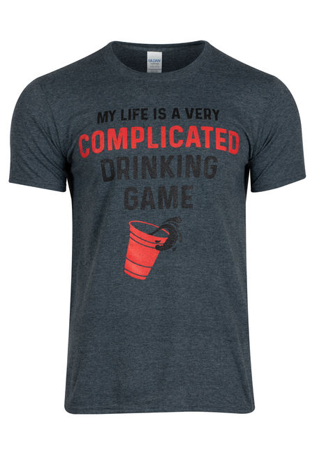 Men's Complicated Drinking Game Tee