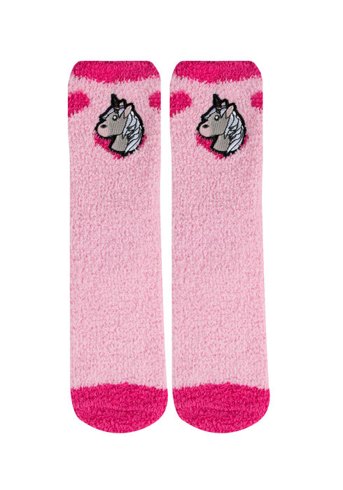 Ladies' Emoji Plush Socks, PINK, hi-res